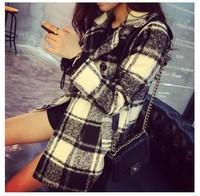 free shipping new 2014 women autumn winter casual trench coat outwear woolen black white green warm AZ139
