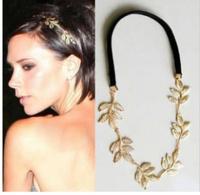 Free shipping~News fashion women   alloy gold leaf design  hairbands,  velvet ribbon headband  1  gift