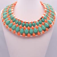 Shourouk Brand Resin Gem Necklaces & Pendants For Women Vintage Flower Statement Necklace Fashion Luxury Pendant Necklace