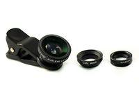 BLACK 3in 1 Fisheye +Wide Angle +Macro Camera Clip Lens Fisheye Mobile Phone For iPhone 6 5 5S 4 4S