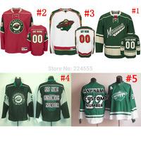 blank/custom Minnesota wild hockey jersey red/white/green/black cheap China swen on Any No./Name 11#zach parise/9#MIKKO KOIVU