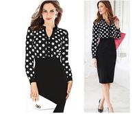 2015 New Arrival autumn Vintage Fashion Women Casual Pencil Dress Slim hip Popular V-neck Ladies dot office wear Dresses clothes