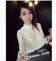 new 2014 spring autumn chiffon blouse lace white sexy cute sweet girls women tops hollow out long sleeve AZ142