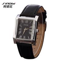 New Hot Sale! Fashion Square Roman Numeral Style Watch,Luxury SINOBI Brand Quartz Wristwatch For Men Women Dress Watch