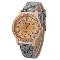 Vintage Floral Watch Women Wristwatch Full women rhinestone watches  Leather Strap Women dress watches JY056