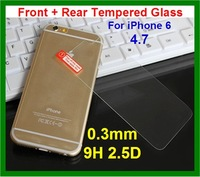 10pcs DHL Free shipping 0.3mm 9H 2.5D Rounded Edge Thin Tempered Glass Front + Rear Screen Protector for iPhone 6 4.7