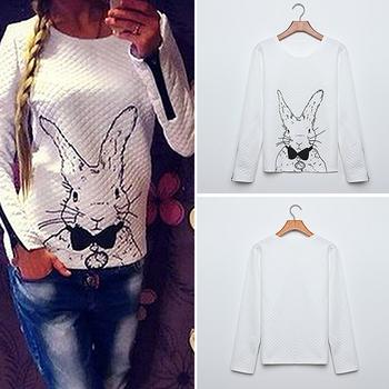 Fanshou бесплатная доставка 2014 женщин толстовка весна осень свободного покроя Sweatershirt женщины кролик отпечатано толстовки PulloversWith молния