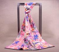 Luxury Pink Color Flowers printing Autumn and winter wool scarf shawl warm shawl Shawls Wraps Size 190x65cm