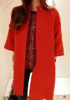 2014 new woolen cape coat Korean version Girls long wool coat fashion trench coat