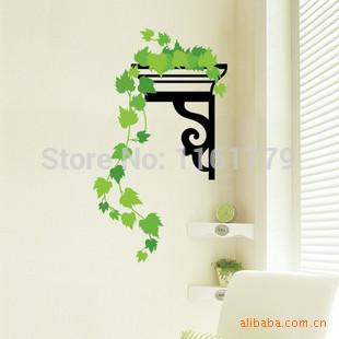Frete grátis parede removível adesivos de parede decalque para viver transparente PVC Vertical verde TC991(China (Mainland))