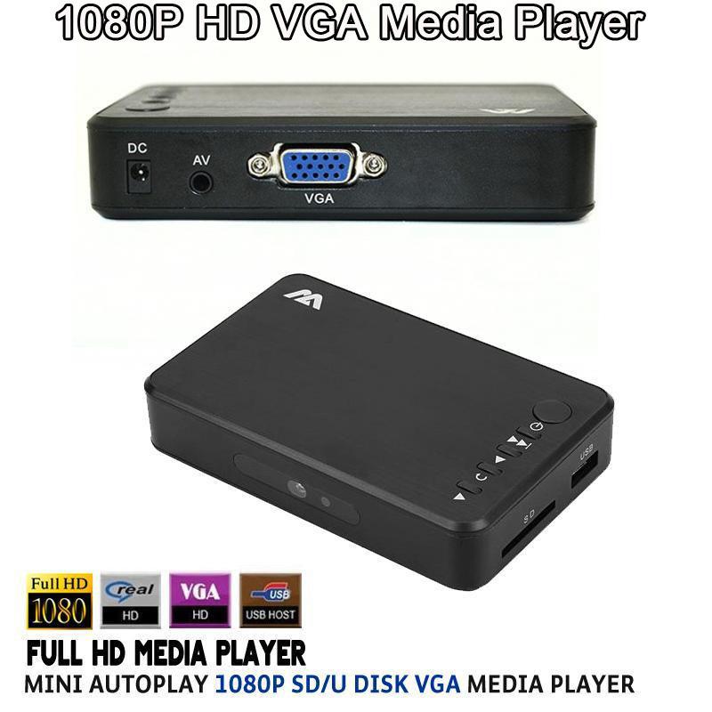 Mini Full HD 1080P USB External HDD VGA Media Player SD Support MKV H.264 RMVB WMV AVI MP4 FLV Music Movie Aluminum Shell(China (Mainland))