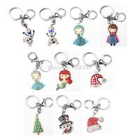 47*27mm Bling Alloy Keychain Frozen Princess Elsa Anna Mermaid Olaf Christmas Tree Hat Snowman Rhinestone Pendant  Key Ring