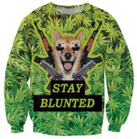 Stay blunted leaf pattern green sweatshirt 2014 Winter 3D Pockmon Sweatshirt Casual Women Harajuku