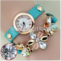 Free shipping 2015 fashion casual 2pcs creative bracelet watch diamond Wristwatches 6 colors--sds