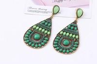 Fashion Drop Earrings Hollow Out Peacock Feather Designer Enamel Dangle Earrings For Women Created Gemstone Jewelry