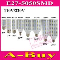 1Pcs E27 B22 E14 5050 SMD LED Corn Bulb AC 220V AC 110V 5W 7W 9W 12W 15W 20W 25W 30W  High Luminous Spotlight LED Lamp Light