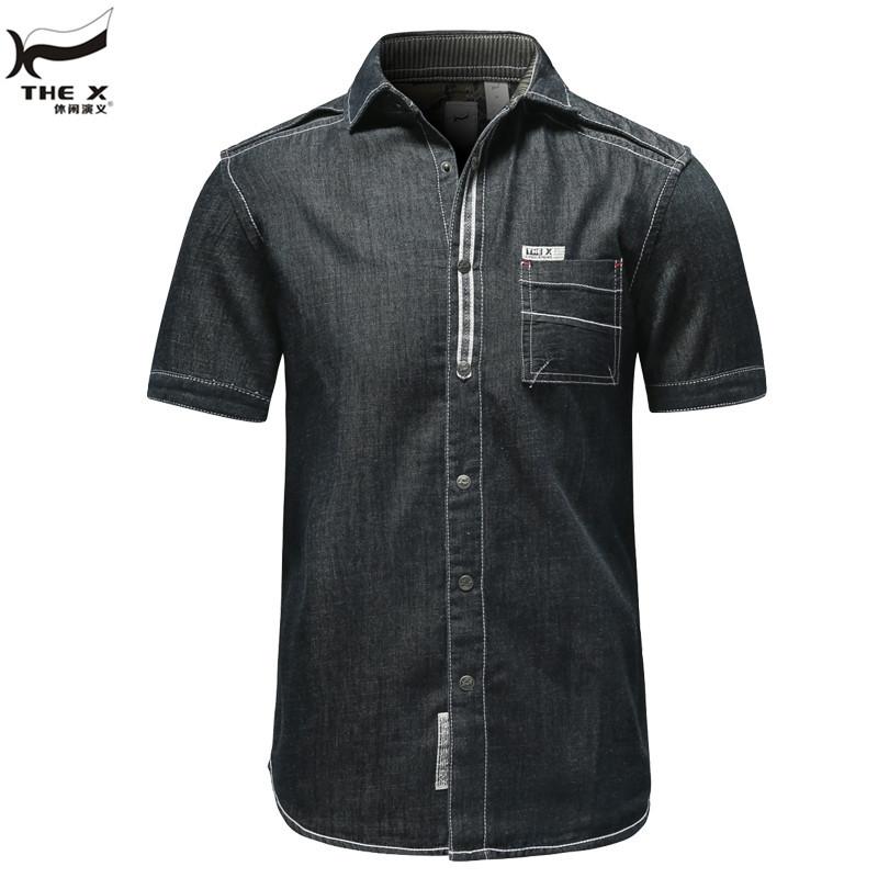 Designer Brand Thex 2015 Mens Casual Denim Short Sleeve