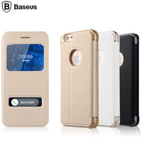 Baseus Double Windows View Smart Case For iphone 6 4.7inch Luxury Slim Silk Line Flip Leather Stand Magnetic Cover For iphone 6