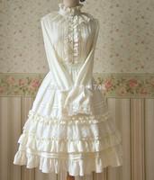 Japanese mori girl lolita style skirts kawaii linen lace elastic basic cake layered lace skirt beige black color saia longa