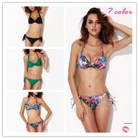 7 Color Brand designer Push Up Padded Swimwear Print Bikinis Set Bathing Suit Sexy Strapless Swimsuits For Women Biquini 2014