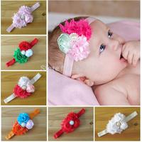 Retail mini order Infant flower headband 14 colors Baby shabby mesh rosette hairband Toddler Baby girls Felt Flower headbands