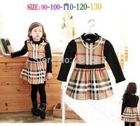 wholesale New 2014 Fashion Girls long-sleeved plaid dress stitching kids dress free shipping