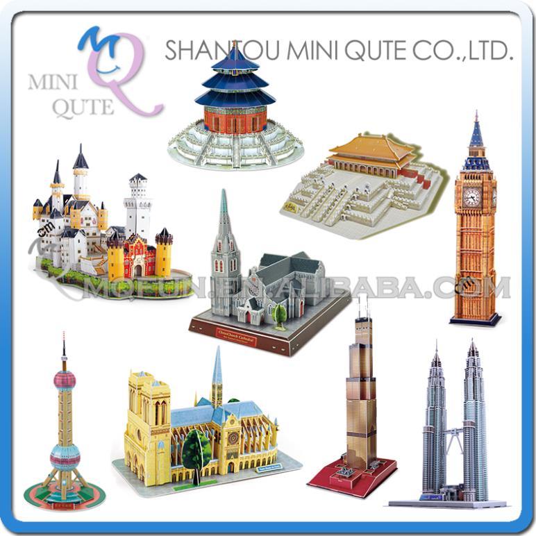 3pcs/lot Mini Qute Large size world architecture 3d paper diy Construction model cardboard jigsaw puzzle educational toy(China (Mainland))
