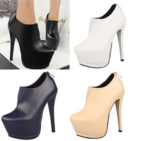 Free Shipping Platform Bottom Sexy Women's Shoes High Heels Faux Leather Concise Ankle Boots For Party Dress #117-3