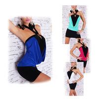 Sexy Color Blocking Backless Halter Dress Clubwear Nightclubs+G-string  78427-78428-78429-78430