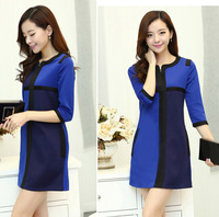 fashion new women patchwork royal blue color vintage dresses ,ladies autumn dress 1051 6758