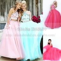 Stunning Beautiful Halter Waist Beaded Sleeveless Two Piece Pink Chiffon Prom Dresses Dress With Crystal