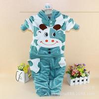 New 2014 Spring-Autumn-Winter Long Sleeve Baby Clothing Set Kids Clothing Set Lovely velvet hoodies  Milk Cow Baby Suit
