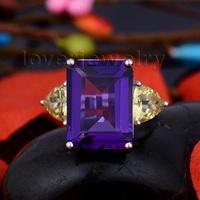 New Beautiful Engagement Gemstone Citrine & Amethyst 18K White Gold Ring SR00106