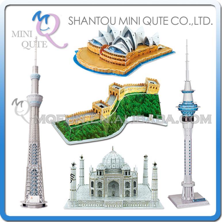 5pcs/lot Mini Qute Large size world architecture 3d paper diy Construction model cardboard jigsaw puzzle educational toy(China (Mainland))