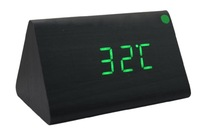 2014 New arrival Home Triangle Digital LED Wooden Desk Alarm Clock Black Case Green LED for first service