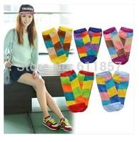 10pcs=5pairs candy color block decoration dimond plaid women's sock slippers