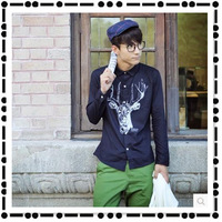 2014 hot new Fall Fun deer print  personalized long-sleeved t-shirt Slim Korean version of the influx of men's shirts