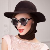 2014 New winter wool felt hats for women lady bow fashion brand designer warm party church meeting chapeu fedora felt hat