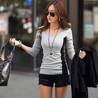 Blusas Femininas Autumn Long Sleeve Shirt Women Brief Gray Bodycon 100% Cotton Tops Korean Perfume Tee Alibaba Exepress 3896