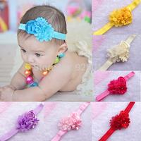 Drop shipping 1pcs Infant baby kids headband 12 colors pearl Chiffon rosette hairband Toddler Baby girls Felt Flower headbands
