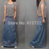 Free Shipping 2014 Fashion Long Floor length Denim Jeans Skirts For Women Straight European Style Skirts Beaded Embroidery Skirt