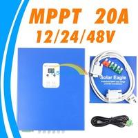 20A MPPT LCD Solar Charge Controller RS232 PC communication 12V 24V 48V solar Panel battery charger  solar regulator e-Smart