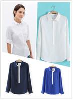 Blouses Ladies 2015 Spring And Summer Women Tops Women's Long Sleeve Shirt Buttons Women's Casual Fashion Lapel Chiffon Blouses