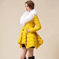 Free shipping European America luxury winter warm down coat jacket women slim waist Lotus asymmetric hem abrigos mujer 2014