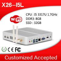 industrial embedded pc thin computer fanless pc X-26I5L 8GB RAM 32GB SSD support wifi,VGA