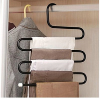 High quality S type 5 layer multilayer trousers rack high strength durable alloy material pants storage rack