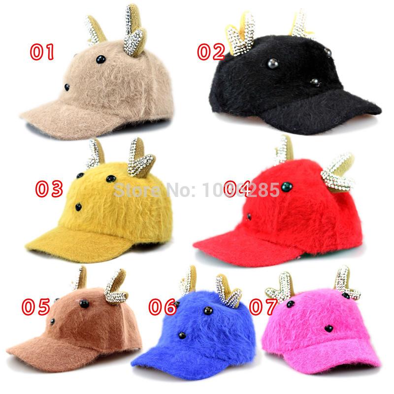 Childrens Baby Ball Caps Animal Design Fur Blending Adjustable Caps for Children Autumn Winter Caps Christmas Gift Seven color(China (Mainland))
