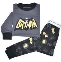 Children New Cotton Long Sleeve Batman Cartoon Pajamas Baby Boys Sleepwear Kids Gray Pyjamas Clothes Sets Age 2Y-7Y
