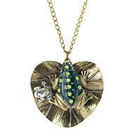 Vintage brozen frog charm on lotus leaf long sweater pendnat retro necklace ,NL-2297