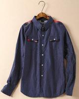 2015 new arrival England style long sleeve women shirts polka dot leisure shirts pockets details free shipping